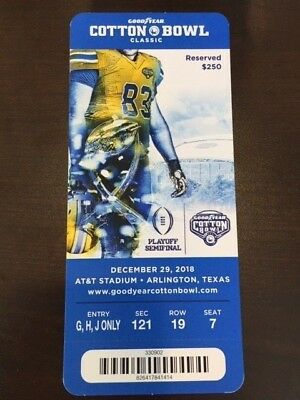 2018 Cotton Bowl Playoff Semifinal MINT Ticket 12/29/18 Stub Notre Dame Clemson
