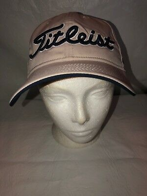 Footjoy FJ Titleist Pro V1 Beige Poly/Spandex Adjustable Back Golf Cap/Hat. NWOT