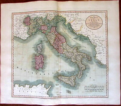 Italy Sicily Sardinia Corsica w/ post roads 1811 John Cary lovely large old map