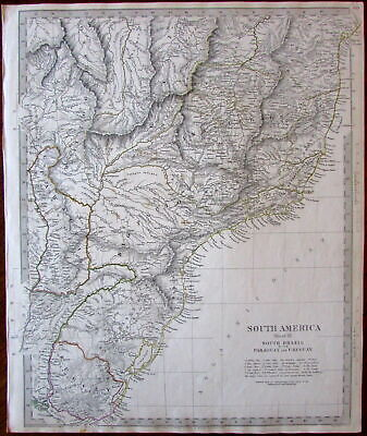 South America Brazil Paraguay Uruguay c.1837 SDUK detailed Walker map