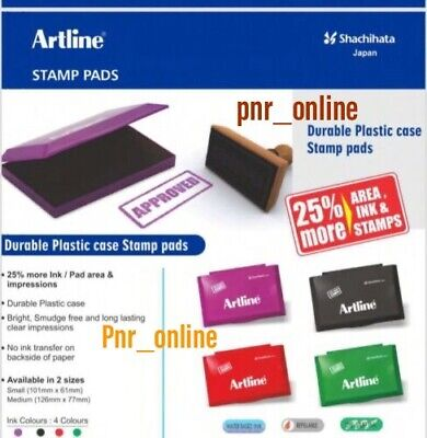 Artline Ink Stamp Pad Black Red Blue Green Medium or Large Pads