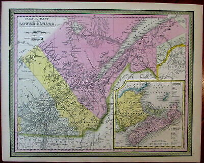 Nova Scotia New Brunswick Montreal Quebec 1851 Cowperthwait Mitchell scarce map