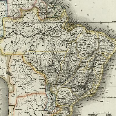 South America Brazil Uruguay Paraguay 1851 Radefeld detailed map