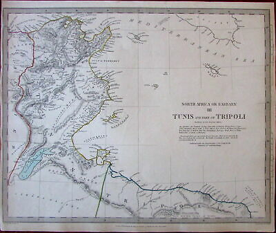 North Africa Barbary Tunis Tripoli coast Jerbah c.1836 SDUK detailed Walker map
