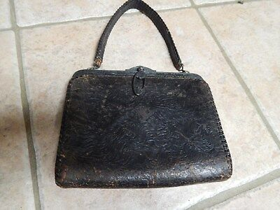 Antique Victorian Tooled Leather Purse, Ornate Metal Frame