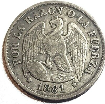 1881 Chile 1 Decimo Silver Republica De Chile