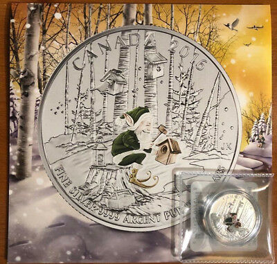 2016 Canada $25 for $25 - Woodland Elf silver coin - with green colour