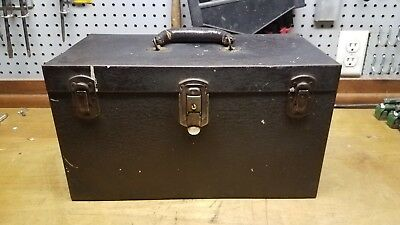 Antique Kennedy Toolbox w. removable trays.  Crinkle Brown, Leather handle
