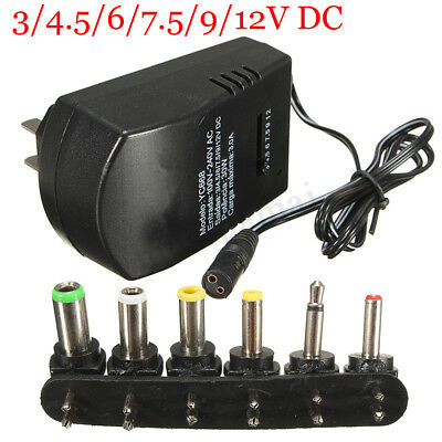 Universal 3,4.5,6,7.5,9,12V 2.5A Power Supply AC/DC Wall Power Charger Adapter !