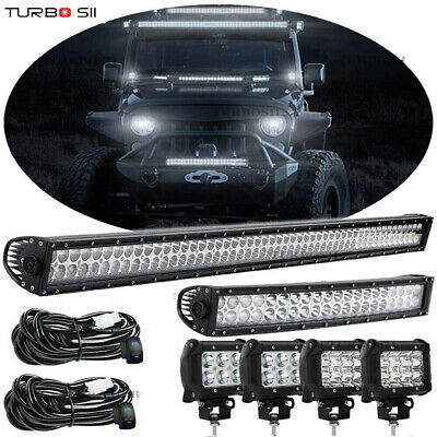 """52Inch LED Light Bar Combo +22in Curved +4"""" PODS OFFROAD SUV 4WD FOR JEEP"""