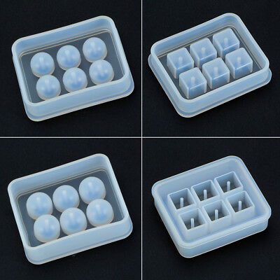 4 Pcs Round Square Silicone Bead Molds with Holes Resin Jewelry Making DIY Tools