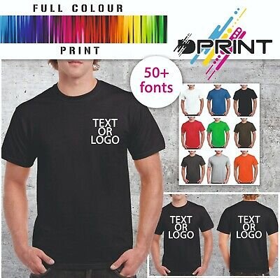 Custom Printed T Shirt Heavy Cotton Personalised Work Wear Business Brand Unisex