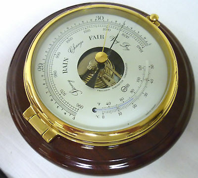 Barigo Captain Series Barometer Thermometer Brass/Polished Mahogany 6 inch face.
