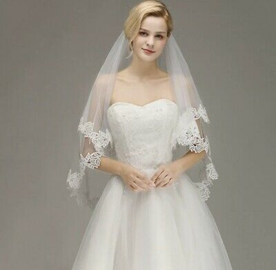Bridal Wedding Ivory Veil 2 Tier With Comb Lace Edge Tulle