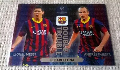 Panini adrenalyn xl CL 2013/14 Messi / Iniesta double trouble card