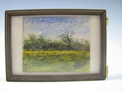 Miniature Watercolor Painting Artist Signed Haid Paris Academy