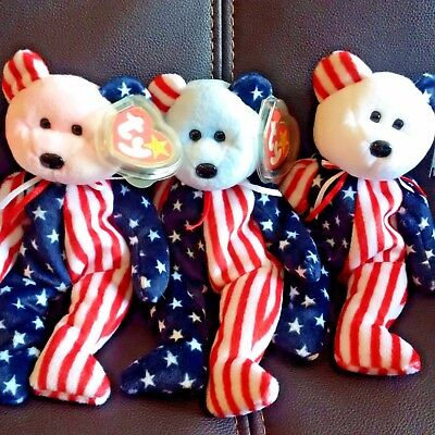 TY BEANIE BABIES 4th of JULY BEAR LOT of 3 SPANGLES RED WHITE and BLUE BABY