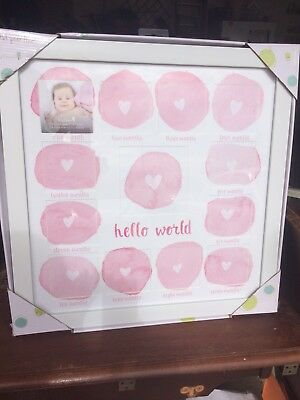 Tiny Ideas Baby's First Year Keepsake Picture Photo Frame, White