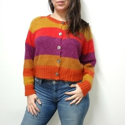 vtg 90s GAP Fuzzy Mohair Blend Wide Striped Cropped Cardigan Sweater Womens M