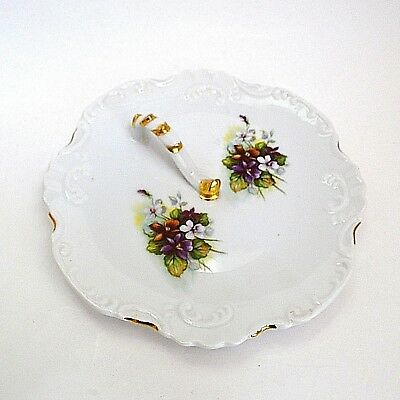 Vintage Handled Berry Candy Nut Dish Plate Nappy Violets Embossed Signed