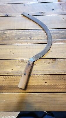 Vintage Antique Hand Scythe Sickle Wood Wooden Handle Rustic Farm Tool Barn