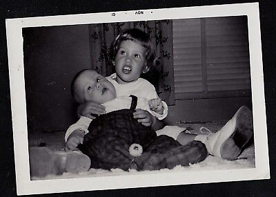 Vintage Antique Photograph Adorable Little Girl Holding Small Baby