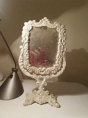Antique Vintage Cast Iron Victorian Style Dresser Mirror