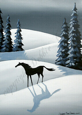 Winter horse landscape modern folk art Criswell ACEO Giclee print of painting