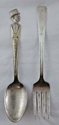 Charlie McCarthy Vintage Duchess Silver Plated 6 Inch Spoon Plus Art Deco Fork