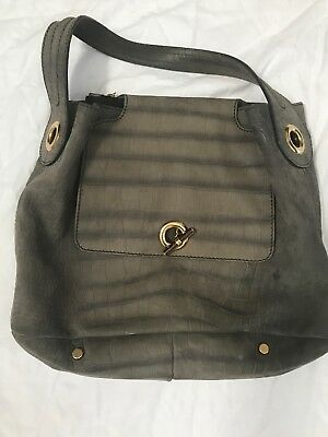 3764cf5cbf99 YSL Yves Saint Laurent Grey Distressed Leather Rive Gauche Hobo Handbag