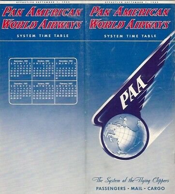 Pan American World Airways System Timetable September 1952 Am Paa Route Map