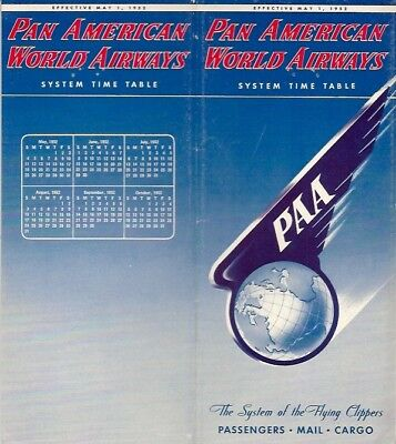 Pan American World Airways System Timetable May 1952 Am Paa Route Map