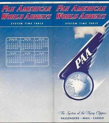 Pan American World Airways System Timetable February 1952 Am Paa Route Map