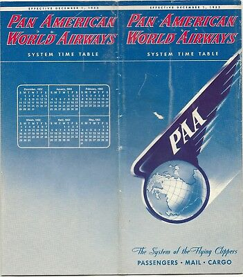Pan American World Airways System Timetable December 1952 Am Paa Route Map