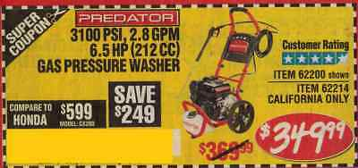 Harbor Freight Coup for 3100 PSI, 2.8 GPM 6.5 HP (212 CC) Gas Pressure Washer
