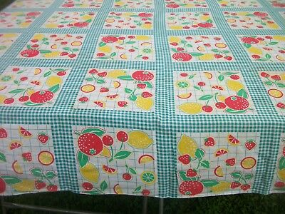"""Fruit Print Tablecloth Red Yellow Green 50"""" x 99"""" Vintage Kitchen TC74"""