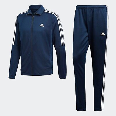 new adidas mens tiro track suit 3 stripe navy white jacket and pant set BK4089
