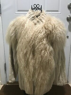 Women's Genuine Rabbit Fur and Tibetan Lamb Jacket Coat Cream Color Size Small