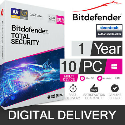 Bitdefender Total Security 2020 (10 User) Multi Device & VPN Genuine License Key