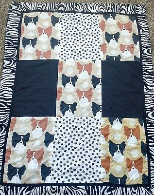 Papillon Dog Handcrafted Lap Blanket/Quilt