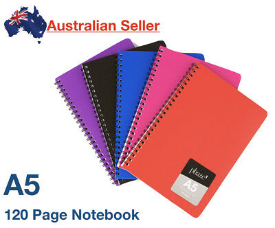 A5 Notebook 7mm Ruled Exercise Book 120 Pages School Lined Spiral Colourhide NEW