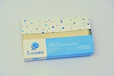 Lorandos Prefold Unbleached Cloth Diapers Large Size 3 [15-30 lbs] (Pack of 6)