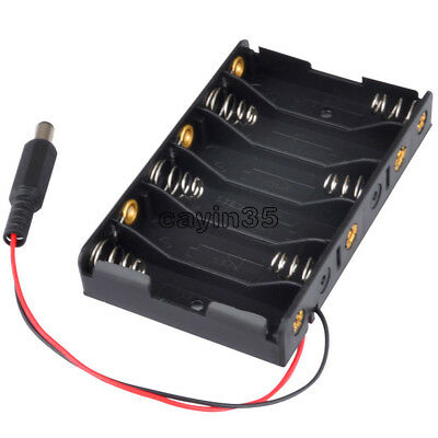 1PCS 9V 6xAA 6*AA Battery Holder Box Case with DC 2.1 Power Jack Wire Lead