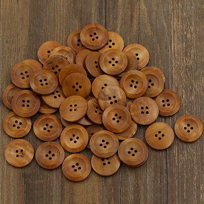 50 Pcs Wooden 4 Holes Round Wood Sewing Buttons Diy Craft Scrapbooking 25Mm Bowl
