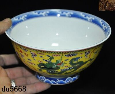 """6""""Marked Chinese dynasty Wucai porcelain glaze animal Dragon Tea cup bowl statue"""