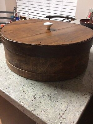 Vintage Antique Large Round Wooden Cheese Pantry Box