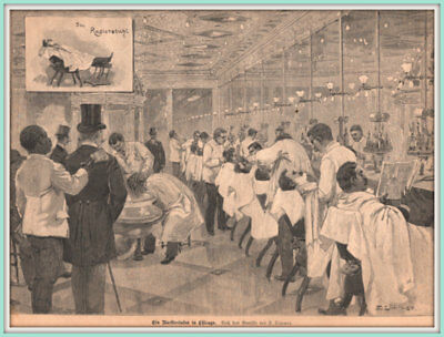 "Frisör-Barbier-Salon""Ein Barbiersalon in Chicago"" Orig.Holzstich erschienen 1896"