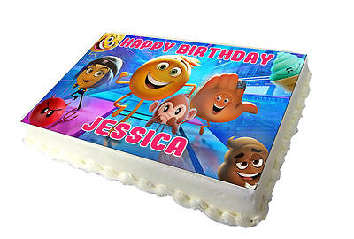 Emoji Movie 2017 A4 Edible Real Icing Cake Topper Pink Text