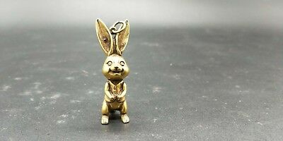 Chinese ancient bronze ware small white rabbit pendant