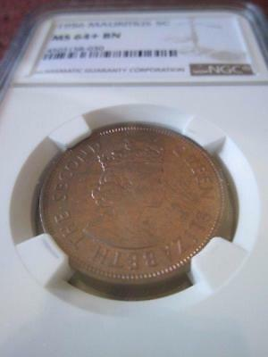 Mauritius 5 Cents 1956 NGC MS 64+ BN